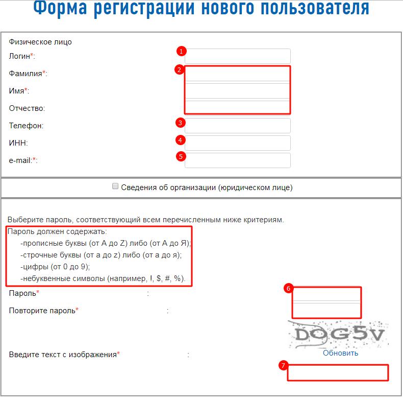 Заполнение формы для регистрации в системе